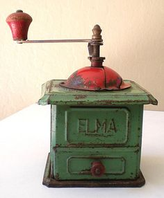 All Original 1920's ELMA Tin Coffee Grinder Made In Spain: Pinned because of the name. (Aunt Elma)