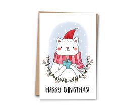 Christmas Card Christmas Cat with Present A6 Holiday Card Christmas Greetings Card by PhoebeHigginson on Etsy https://www.etsy.com/listing/254572655/christmas-card-christmas-cat-with