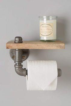 Reclaimed Sycamore Toilet Paper Holder - anthropologie.com #anthrofave - industrial -industrieel. Wil je meer weten over de basis principes van industrieel inrichten? Ga dan naar http://myindustrialinterior.blogspot.nl/2016/08/industrieel-interieur-praktische-tips.html