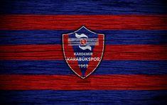 Download wallpapers Kardemir Karabukspor, 4k, Turkey, wooden texture, Super Lig, soccer, football club, FC Kardemir Karabukspor, art, football, Kardemir Karabukspor FC