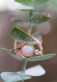 Opal + Vintage Diamonds + Rose Gold + Eucalyptus for a winter wedding.