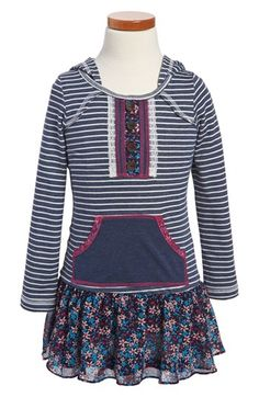 Truly Me Stripe Hooded Dress (Little Girls & Big Girls) available at #Nordstrom