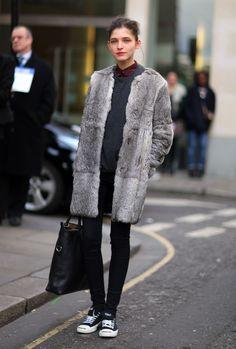 Grey Furry Coat | Street Fashion | Street Peeper | Global Street Fashion and Street Style