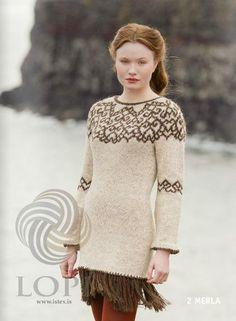 - Icelandic Merla Women Wool Dress Brown - Tailor Made - Nordic Store Icelandic Wool Sweaters - 1 Fair Isle Knitting Patterns, Knitting Stitches, Knitting Designs, Crochet Patterns, Icelandic Sweaters, Wool Sweaters, Wool Dress, Knit Dress, Fair Isle Pullover