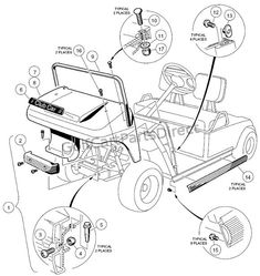 1997 Club Car Gas DS or Electric - Club Car parts & accessories Golf Cart Repair, Gas Golf Carts, Electric Golf Cart, Golf Cart Batteries, Car Parts And Accessories, Carriage Bolt, Electrical Wiring Diagram, Back Bag, 3rd Wheel