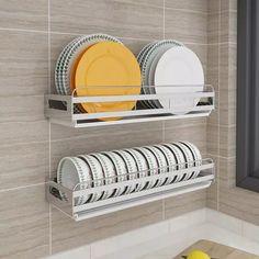 Escorredor de pratos de Drenagem Rack de Parede-montado Soco livre-Pendurado Prato de Aço Inoxidável Placa de Rack Rack de Armazenamento De Cozinha