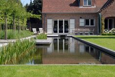 Modern Country Style, Natural Swimming Pools, Garden Pond, Garden Inspiration, Exterior, Outdoor, Mansions, House Styles, Water