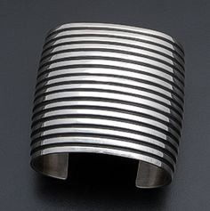 Andy Cadman - Wide Sterling Silver Lined Cuff Bracelet #37903 $675.00
