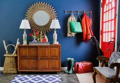 """Before & After: A Beige Entryway Gets a Bold Blue """"Town & Country Mod"""" Makeover 