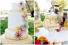 Love the simplicity and color scheme of the cake and table.