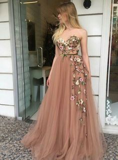 On Sale Light Champagne Party Dress A-Line Sweetheart Sweep Train Champagne Prom Dress With Appliques Fancy Prom Dresses, A Line Prom Dresses, Tulle Prom Dress, Homecoming Dresses, Long Dresses, Party Dresses, Maxi Dresses, Floral Prom Dress Long, Dance Dresses