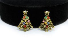 Hollycraft Christmas Tree Earrings  Ribbon Tree by AgeofPlastic