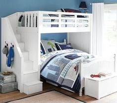 Catalina Stair Loft Bed & Lower Bed Set | Pottery Barn Kids
