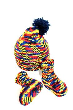 Bonnet et chaussons en acrylique chiné pour bébé : Mode Bébé par creations-fait-main-divers