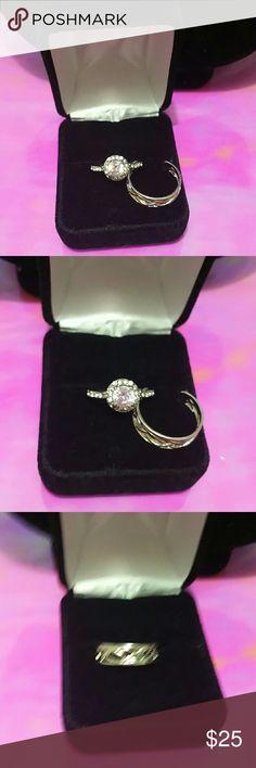 1 carat cz  gorgeous ring wedding set 2 rings size,8 rhodium silver Jewelry