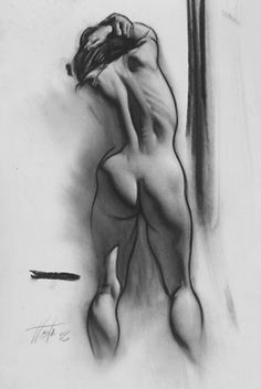 "stevehuston.com ""Sara""  nude study, charcoal on paper.  Excellent use of shadow and reflective back-light to describe form!"