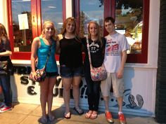 Heather Holmes (left), Breanna Shick, Hannah Holmes, and Wyatt Whewell, all of Lawrenceville, IL, at Wintzell's Oyster House in Mobile, AL on June 21, 2013