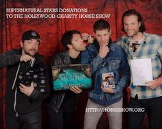 Awesome pic of Mark, Misha, Jensen and Jared (well, typical of Misha) - from William Shatner's Twitter