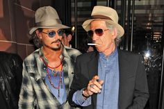 Johnny Depp and Keith Richards outside C London restaurant