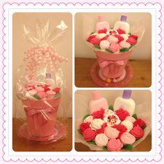 Cute Shower Idea: Girls baby clothes bouquet