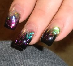 Glitter Acrylic Nails | Acrylic Nails: Fascinating Cosmic Theme Glitter Black Acrylic Nails ...