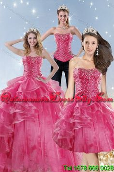 2816a3f7c70 Detachable and Wonderful Pink Quinceanera Dresses with Beading and Ruffles  for 2015