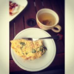 Breakfast. Spinach and bacon omelette. With healthy tea.