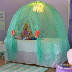 This gorgeous Under The Sea Bed Tent has all a little Princess would want. Make her feel special with this adorable tent from Magic Cabin! Dream Bedroom, Girls Bedroom, Bedroom Decor, Bedroom Ideas, Girls Bed Tent, Tent Bedroom, Bedroom 2017, Tent Canopy, Kids Canopy