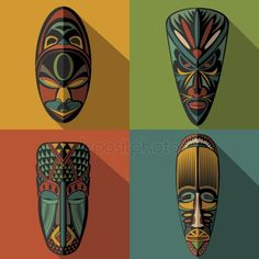 Set of African Ethnic Tribal masks on colour background — Stock Illustration African Drawings, African Art Paintings, African Colors, Afrique Art, Ceramic Mask, Mask Drawing, Tiki Mask, Tribal African, Tribal Patterns