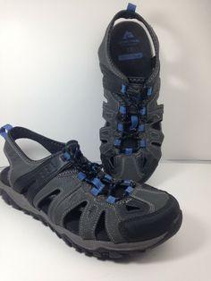 55958aeb6197 Men s Ozark Trail Blue Black Closed Toe Hiking Sandal with Memory foam Size  10
