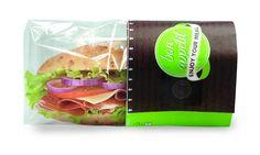 Bolsa Papel Bocadillo/Snack Grande con pergamino antigrasa y cubierta de plástico microperforada que mantiene fresco su producto.