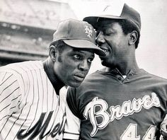 Willie Mays & Hank Aaron. At the time of this picture, both men had 648 career HRs