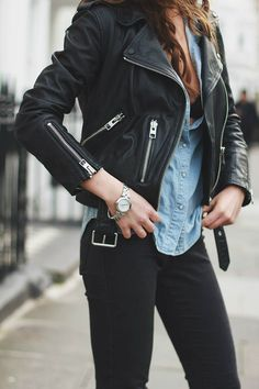 Moto Leather Jacket Chambray Shirt Black Denim Rocker Edgy Grunge Indie Moto Punk Chic w. Fashion Mode, Look Fashion, Winter Fashion, Fashion Edgy, Fashion Black, Street Fashion, Womens Fashion, Fashion Trends, Mode Outfits