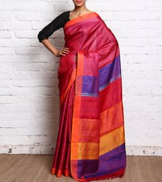 Magenta & Orange Handloom Tussar Silk Saree By Shades   #ParamparikSarees #ShadesSaree
