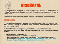 Característiques biografia Catalan Language, Text Types, Early Reading, Writing Activities, Valencia, Spanish, Teaching, How To Plan, Education