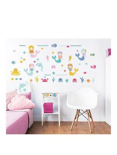 Walltastic Mermaid Wall Sticker Pack with 56 great stickers! Perfect for the bedroom or playroom of anyone who dreams of growing up to become a mermaid, this Walltastic® sticker set features dancing dolphins, colourful coral, sea horses and more! Across 3 large sticker sheets, the set comes with a total of 56 stickers to totally transform her space. Simple to peel and stick, they're all removable and repositionable, so she can even help you put each one in the exact right position to create…