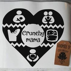 The ultimate Crunchy vinyl decal! Choose any 5 symbols. Babywearing, cloth diaper, breastfeeding, bottle feeding, co sleeping, equality, extended rear facing, home birth etc - I can create any symbol to go in the heart. The heart is large measuring 6x6 inches. These are made with a high