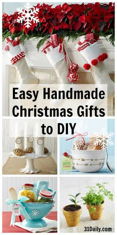 Every year I try to make a few handmade gifts for friends and family members. Handmade Christmas gifts are so personal and cherished that it's worth the time and effort to create something special.  Easy Handmade Christmas Gifts to DIY | 31Daily.com