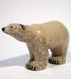 SAVANNAH OURS POLAIRE XXL Céramique d'art Raku Les ours statues et décoration céramique d art - Paris France