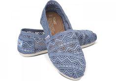 New denim-colored #crochet TOMS