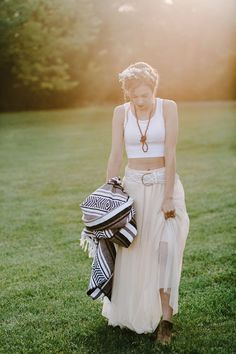 Go for the nontraditional - rock a crop top, wispy skirt, and boots #cedarwoodweddings Indigo Design Inspiration by Cedarwood Weddings | Cedarwood Weddings