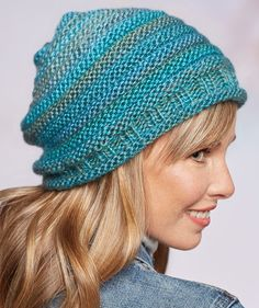 Free Knitting Pattern for Simple Style Hat - Laura Bain's easy patern for slouchy beanie is created by alternating stripes of knit and purl rounds in multi-colored yarn. Knit Slouchy Hat Pattern, Beanie Knitting Patterns Free, Easy Knit Hat, Baby Hats Knitting, Loom Knitting, Free Knitting, Knitted Hats, Slouchy Beanie, Knit Crochet