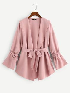 To find out about the Scallop Trim Knot Bell Sleeve Coat at SHEIN, part of our latest Outerwear ready to shop online today! Mode Abaya, Mode Hijab, Hijab Fashion, Fashion News, Fashion Dresses, Hijab Stile, Collar Styles, Dress Codes, Classy Outfits