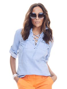 Shop 7th Avenue Design Studio - Madison Shirt - Lace-Up . Find your perfect size online at the best price at New York & Company.