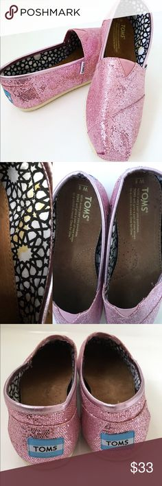 Pink glitter toms Yellow spots on inside fabric of shoe only. See pics. Other wise in like new condition !  W8 TOMS Shoes