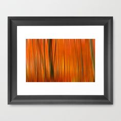 Fall forest (abstract) Framed Art Print by Pirmin Nohr - $32.00 Edited version of my popular photo of an autumnally forest: http://society6.com/pirminnohr/autumn-i5m_print#1=45  landscape, nature, forest, trees, orange, blur, blurred, soft, fall, autumn, autumnally
