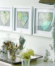 Framed Heart Maps @Amanda Formaro Crafts by Amanda