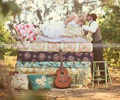 princess and the pea photo shoot for wedding