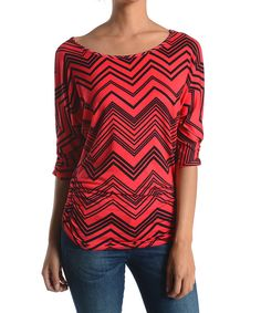Look at this Chris & Carol Red Zigzag Stripe Top on #zulily today!