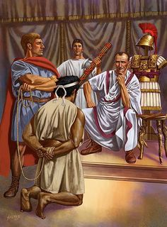 """The Numidian King Jugurtha is brought before the Roman General, Gaius Marius. by Johnny Shumate. Jugurtha famously described Rome as """"a city for sale and doomed to quick destruction, if it should find a buyer. Ancient Rome, Ancient Greece, Ancient History, Military Art, Military History, Roman Kings, Punic Wars, Roman Legion, Medieval World"""